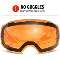 Odoland Erwachsene Skibrille Sphärische Rahmenlose Snowboard Brille mit Magnetische wechselglas brillenträger Skibrillen, OTG UV 400 Schutz u. Anti-Beschlag
