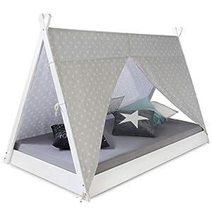 Homestyle4u 1847, Kinderbett Tipi Zelt 90×200, Weiß Grau, Zelt Mit Sterne, Holz Kiefer