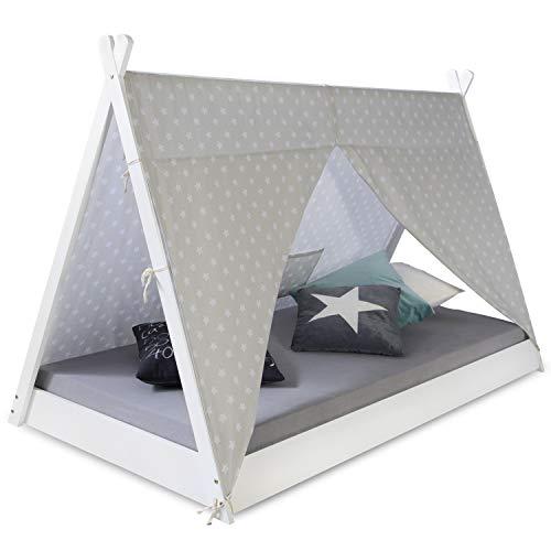 Homestyle4u 1847, Kinderbett Tipi Zelt 90x200, Weiß Grau, Zelt Mit Sterne, Holz Kiefer