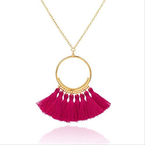XIANGLIANDIAN Halskette Boho, Böhmische Ethnische Quaste Anhänger, Halskette, Weibliche Lange Goldkette Winter Pullover Halskette, Bekleidungszubehör Barbie Pink