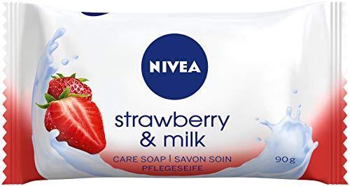 NIVEA Strawberry & Milk Pflegeseife im 1er Pack (1 x 90 g), cremige Seife mit verwöhnendem Erdbeerduft, Handseife reinigt sanft mit Milchproteinen