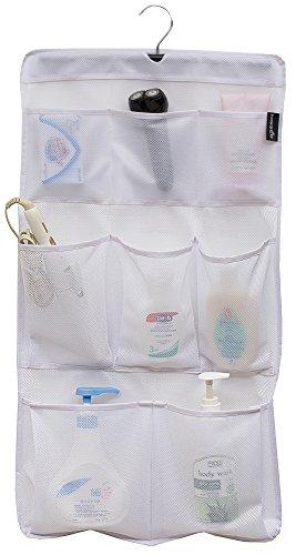 MISSLO 8Taschen Mesh Dusche Organizer Hängen Caddy mit drehbarem Kleiderbügel Quick Dry Bad Ablage (Weiß) (Reisen Größe Toilettenartikel Zahnpasta)