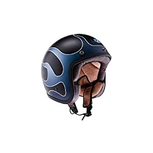 Lazer Mambo Flame Open Face Helmet (Black, Blue and Grey, M)