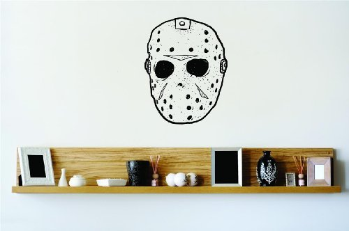 Jason Maske Scary Vinyl Wall Aufkleber Peel & Stick Aufkleber Home Halloween Party Dekoration Kinder Junge Mädchen Teen Wohnheim Zimmer Kinder - 22 Farben erhältlich 20 x 16