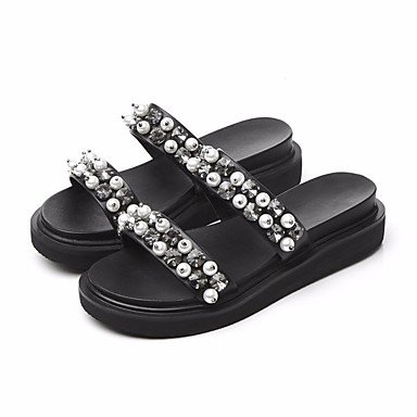 pwne Donna Pantofole &Amp; Flip-Flops Comfort Pu Primavera Estate Casual Nero 4 In-4 3/4In Black Us6 / Eu36 / Uk4 / Cn36 US8.5 / EU39 / UK6.5 / CN40
