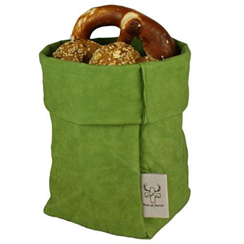 bun-di Swiss® - KREMPELBOX M | kleiner Brotkorb, Utensilo, Aufbewahrungskorb, Deko-Übertopf, Geschenkbox | Waschbares Papyr mit Lederoptik (Veganes Leder) | ca.12,5cm Ø (OLIVE) Echt Leder Snap