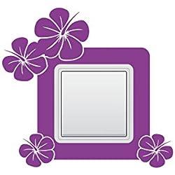 Wandtattoo Wandschalter Lichtschalter Steckdosentattoo Blumen Nr 1 Blumentattoo Blumenaufkleber Blüten für 1, 2 & 3 Steckdosenleisten Farbe Schwarz, Größe 15x14 cm | Einer