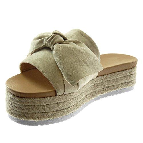 Angkorly Scarpe Moda Sandali Mules Slip-On Zeppe Donna Nodo Corda Intrecciato Tacco Zeppa Piattaforma 4.5 cm Beige