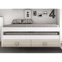 Cama nido blanca con 2 cajones color haya para dormitorio juvenil. 204x100x68cm