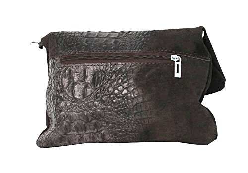 Clutch ,Borse a spalla (28 / 19 / 4 cm ) in pelle Mod. 2059 by Fashion-Formel Marrone/Croco