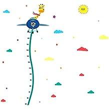 Vinilo Infantil Pegatina Pared Para Dormitorio Sala Nubes y Jirafa del vuelo Medidor Infantil De Altura