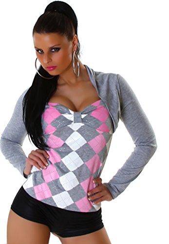 Jela London Damen Langarm-Shirt Karo-Rauten Bolero Optik Größen - 34-36 Grau-Rosa