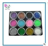 TaoNaisi Lot de 12 pots de couleurs pour Nail Art poudre pailletée décoration DIY pour capsules en gel acrylique UV