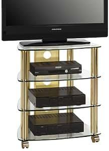 maja m bel 1609 9978 tv hifi rack messing klarglas abmessungen bxhxt 60 x 72 x 46 5 cm. Black Bedroom Furniture Sets. Home Design Ideas