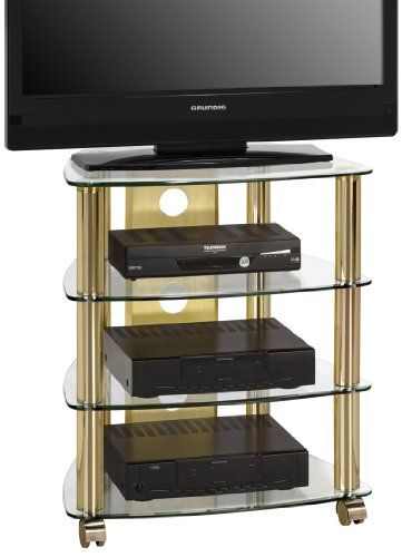 Möbel 1609 9978 TV- HiFi-Rack, Messing - Klarglas, Abmessungen BxHxT: 60 x 72 x 46,5 cm