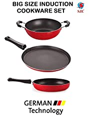 SJEWARE Non Stick Cookware Set Combo Fry Pan Non Stick Tawa Non Stick Kadai Non Stick Cooking Set Gas Stove Only