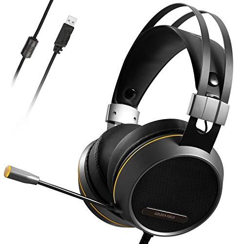 GOLDEN FIELD X7 Cuffie da gioco stereo surround 7.1 USB con Illuminazione a LED, Microfono, Controllo del Volume per PC Desktop Gaming