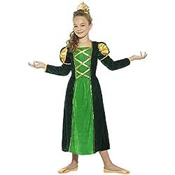 Smiffys Disfraz de Princesa Medieval, Verde, con Vestido y Corona
