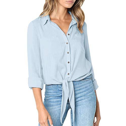 Subfamily Damen LäSsig Solid Crushed Langarm Button-Down Bandage Shirt Tops Bluse Damen Langarm Tie Button Shirt Langarmshirts