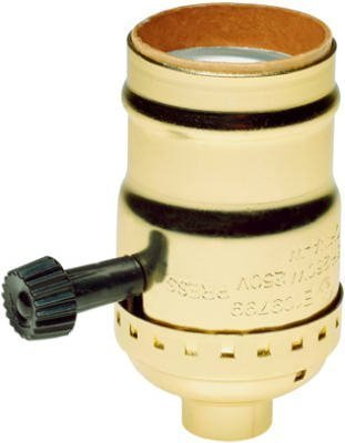 3 Light Medium Base (Brass Light Socket - Plated - 3-Terminal - 2 Circuit - Turn Knob - Medium Base Socket - 1/8 IPS - PLT 90-421 by PLT)