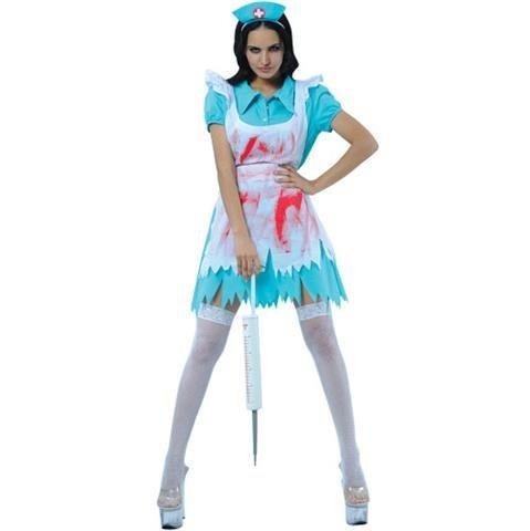 Halloween Bloodthirsty Nurse Adult Womens Fancy Dress (Adult Kostüme Halloween Female)