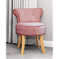 Sue Ryder Rose Pink Velvet Vanity Dressing Table Stool Natural Wooden Legs