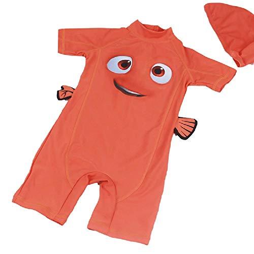DOOUYTERT Klassisch 2 Teile/Satz Kinder Kurze Einteilige Badeanzüge Kinder Fisch Muster Sonnencreme Neoprenanzug für Wassersport (Orange) (Farbe : Orange, Größe : S)