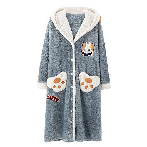 Langes Nachthemd weiblichen Herbst und Winter Pyjamas warmen Plüsch Home Service niedlichen Kapuze Coral Fleece Nachthemd