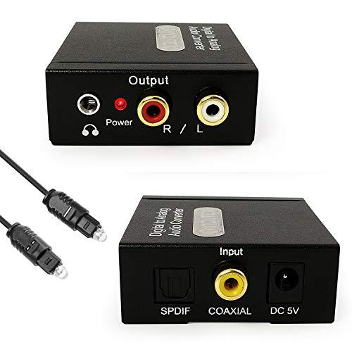 Incutex Converteur Audio Digitale (Toslink et Coaxial) à Analogue (Cinch) transducteur Audio décodeur avec Un Adaptateur Prise et câble Jack