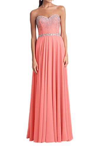 Milano Bride Glamour Chiffon Herzform A-Linie Abendkleid Tanzenkleid Faltenwurf Paillette Strass Bodenlang Wassermelone