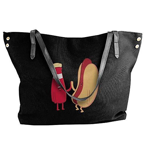sghshsgh Borse a tracolla,Borse a spalla da donn Women's Ketchup & Hot Dog Canvas Shoulder Bag Handbags Tote Bag Casual Shopping Bag Duffel Bags