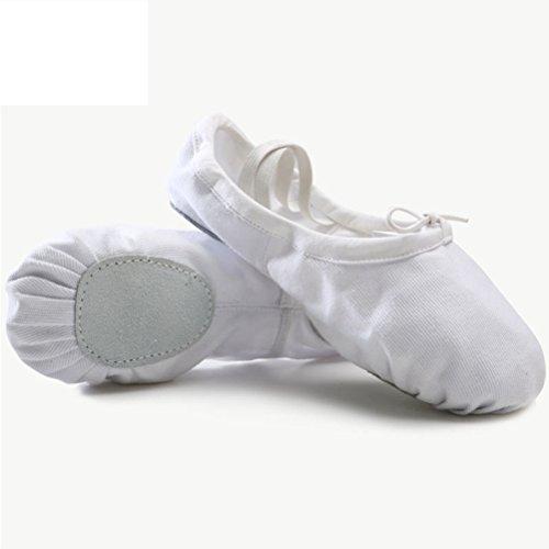 Zhuhaitf Freizeit Girls Canvas Yoga Dance Shoes Gymnastics Training Flat Shoes White