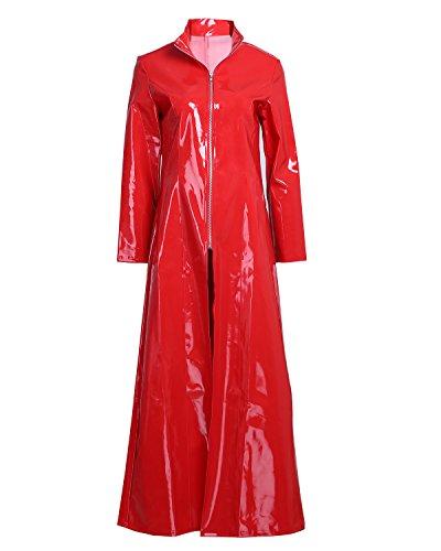 Alvivi Damen Catsuit Wetlook Frauen Dessous-Catsuit Catwoman Kostüm Leder Optik Gothic Kleider Mantel Cape Clubwear Cosplay DS-Kostüm Rot S
