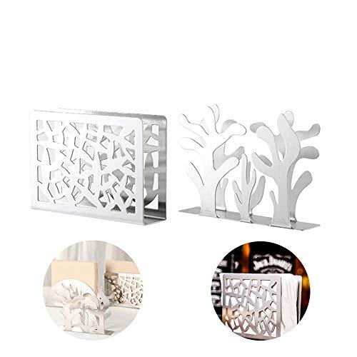 2 pzs porta carta in acciaio inox portatovaglioli in metallo, pratico supporto per tovaglioli da cucina per la tavola o per il piano di lavoro, modellazione botanica e stile plaid(argento)