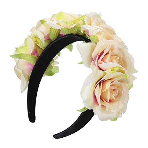 BESTOYARD Hawaii Rosen Kranz Haarband Wide Floral Garland Stirnband tropischen Thema Haarband (grüne Seite)