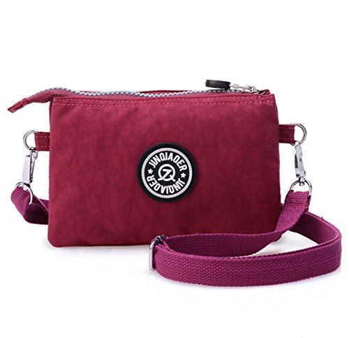 tiny-chou-three-layers-zipper-purse-waterproof-nylon-wristlet-bag-cell-phone-pouch-with-shoulder-str
