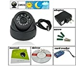 #1: Finicky World CCTV Dome 24 IR Night Vision Camera DVR with Memory Card Slot Recording (USB),Black