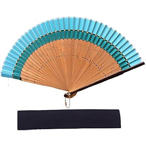Rangebow HQF28 ALTA CALIDAD azul profundo del cielo y de la luz azul de la frontera de seda ventilador de costillas de bambú fábricas de la mano con la