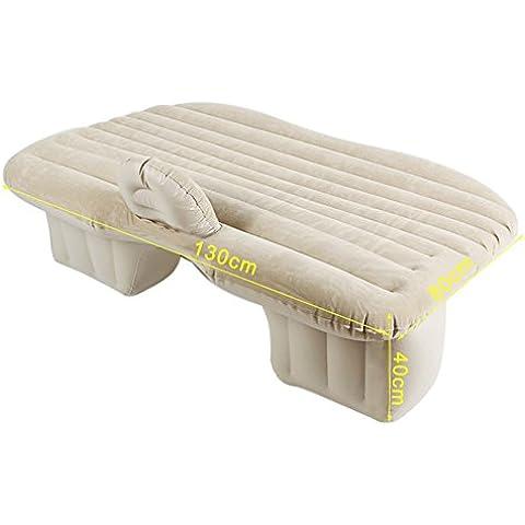 SkySea coche cama inflable colchón de viaje en coche de alta resistencia asiento trasero se extienden colchón inflable colchón para coches con bomba de aire (Beige)