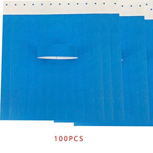 Minzhi 100Pcs / Set Wasserdichte Einweg Event Armbänder Non-Woven-Gewebe-Papier Armbänder Vergnügungspark EintrittskartenBlau (Papier-armbänder Für Ereignisse)
