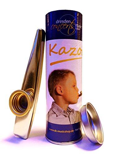 Qualitäts-Kazoo aus Metall in farbiger, verschließbarer Geschenkdose mit Spielanleitung, das beliebte Spaß- und Party-Instrument -