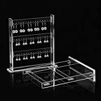 LANSCOERY 48 Holes Acrylic Earring Holder Transparent Jewelry Display Stand Storage Decor for Women Girls Gallery Store Exhibit Presentation