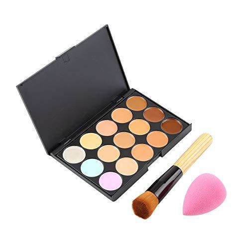 15 Color Pro Primaire Correcteur Crème Visage Contour Palette Maquillage Correcteur Palette de base Éponge Pinceau Poudre