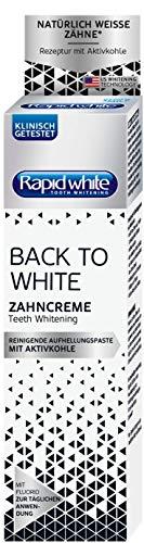 Rapid White Back To White Zahncreme, Zahnaufhellung Für Zuhause, Whitening-Zahnpasta Für Weißere Zähne, Mit Aktivkohle, Ohne Wasserstoffperoxid, 75ml