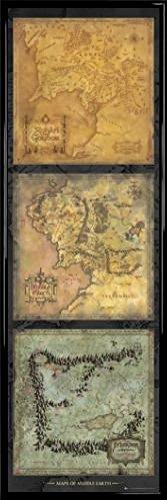 Der Herr Der Ringe Tür-Poster und Kunststoff-Rahmen - Maps of Middle Earth (158 x 53cm) - Ringe Herr Der Gerahmte Poster