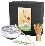 zekaano Matcha Set–Originale giapponese Matcha Chawan 450ML con matchabesen Chasen e cucchiaio di bambù Chas Haku, tradizionale Ø 12,6cm, Bianco/Grigio, fatto a mano, originale aricola®