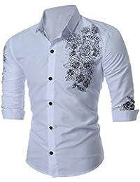 YCHENG camisas manga larga para hombre de lujo moda ajustado botón bosquejo flores estilo británico hidalgo