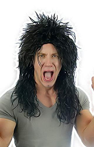 Herren Kostüm Perücke 80er Jahre Hard Rocker Alice Heavy Metall Kiss Punk (Kiss Kostüm Von Jahr)