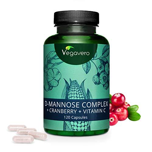 Integratore per PROSTATA e CISTITE Vegavero® | D-MANNOSIO con Mirtillo Rosso e Vitamina C Naturale | Contro le Infezioni delle Vie Urinarie | D-Mannose Complex | Vegan