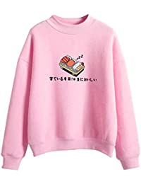 A0127 Womens Winter Candy Farbe Cartoon Kawaii Sushi Japanischen Print  Sweatshirt Hoodies Verdicken Fleece Harajuku Pullover Lose… 3ae1db18bb